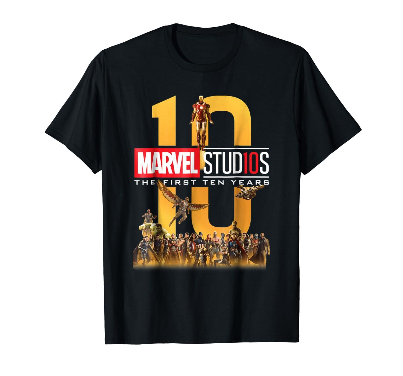 8b6fb8609 Amazon.com: Marvel Studios First Ten Years Full Cast Graphic T-Shirt:  Clothing