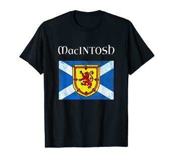new arrival c67fe f88b8 Amazon.com: MacIntosh Scottish Clan Name T Shirt Coat Arms ...
