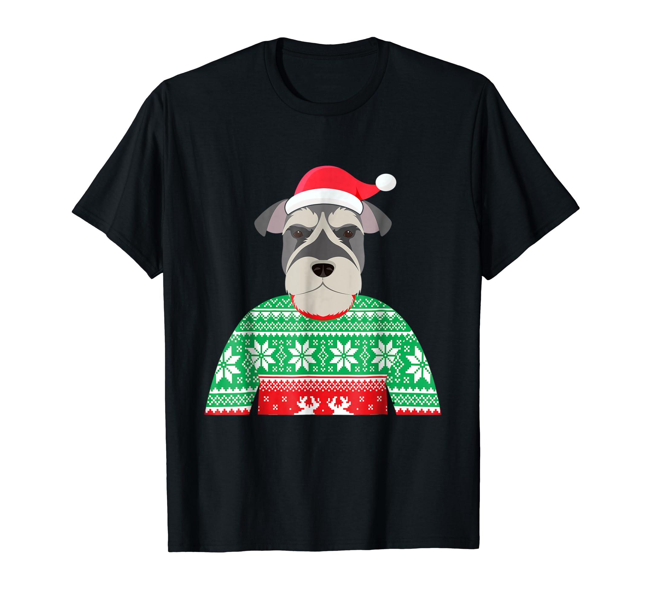 Funny Schnauzer Ugly Christmas Sweater T Shirt-Men's T-Shirt-Black
