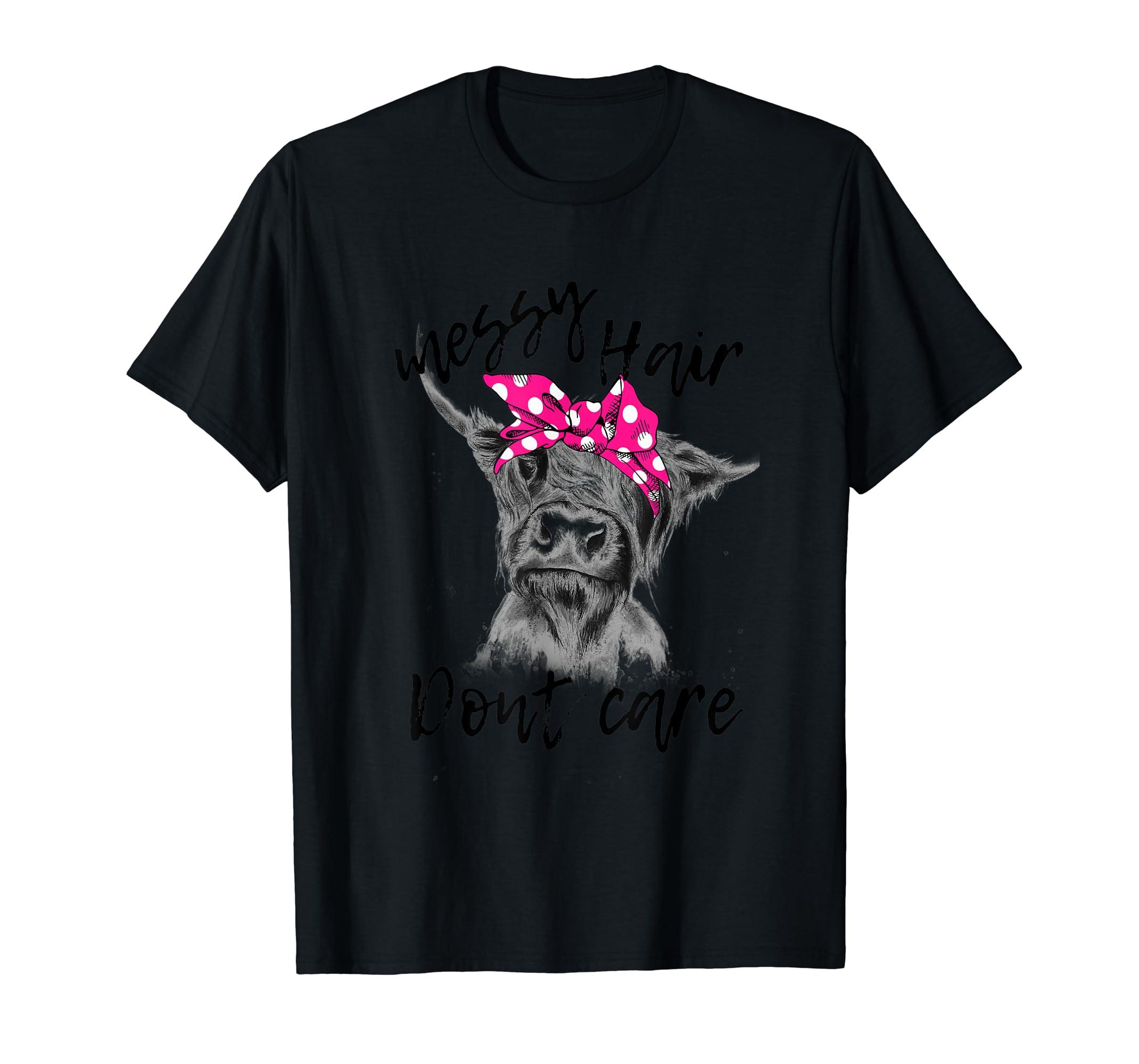 Messy Hair Dont Care Highland Cow Headband T-shirt-Men's T-Shirt-Black