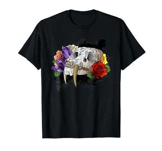 Amazoncom Tattoo Style Sabertooth Tiger Skull T Shirt Clothing