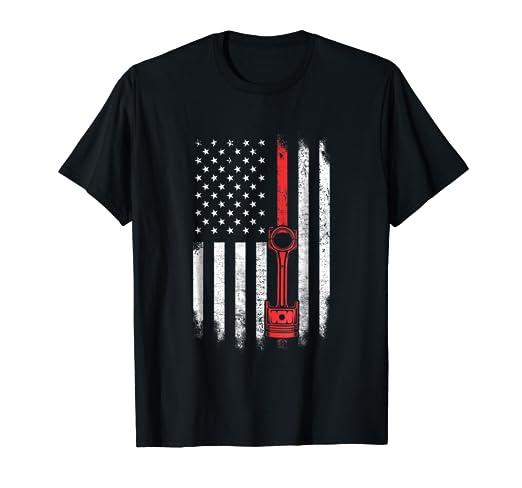 Amazon Com Piston American Flag T Shirt Muscle Car Us Flag T Shirt
