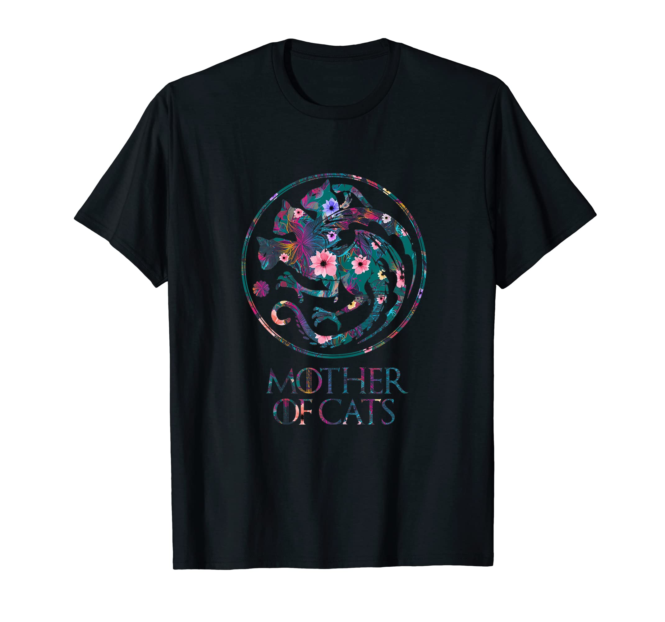 Womens Cat Lovers Shirt Mother of Cats With Floral Art T-Shirt-Men's T-Shirt-Black