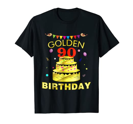 90 Years Old 90th Golden Birthday Decorations Gift Shirt