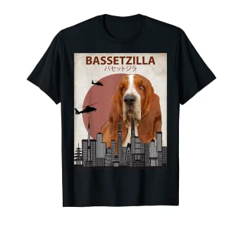 8ba5570c Image Unavailable. Image not available for. Color: Bassetzilla Funny Basset  Hound T-Shirt | Gift for Dog Lovers