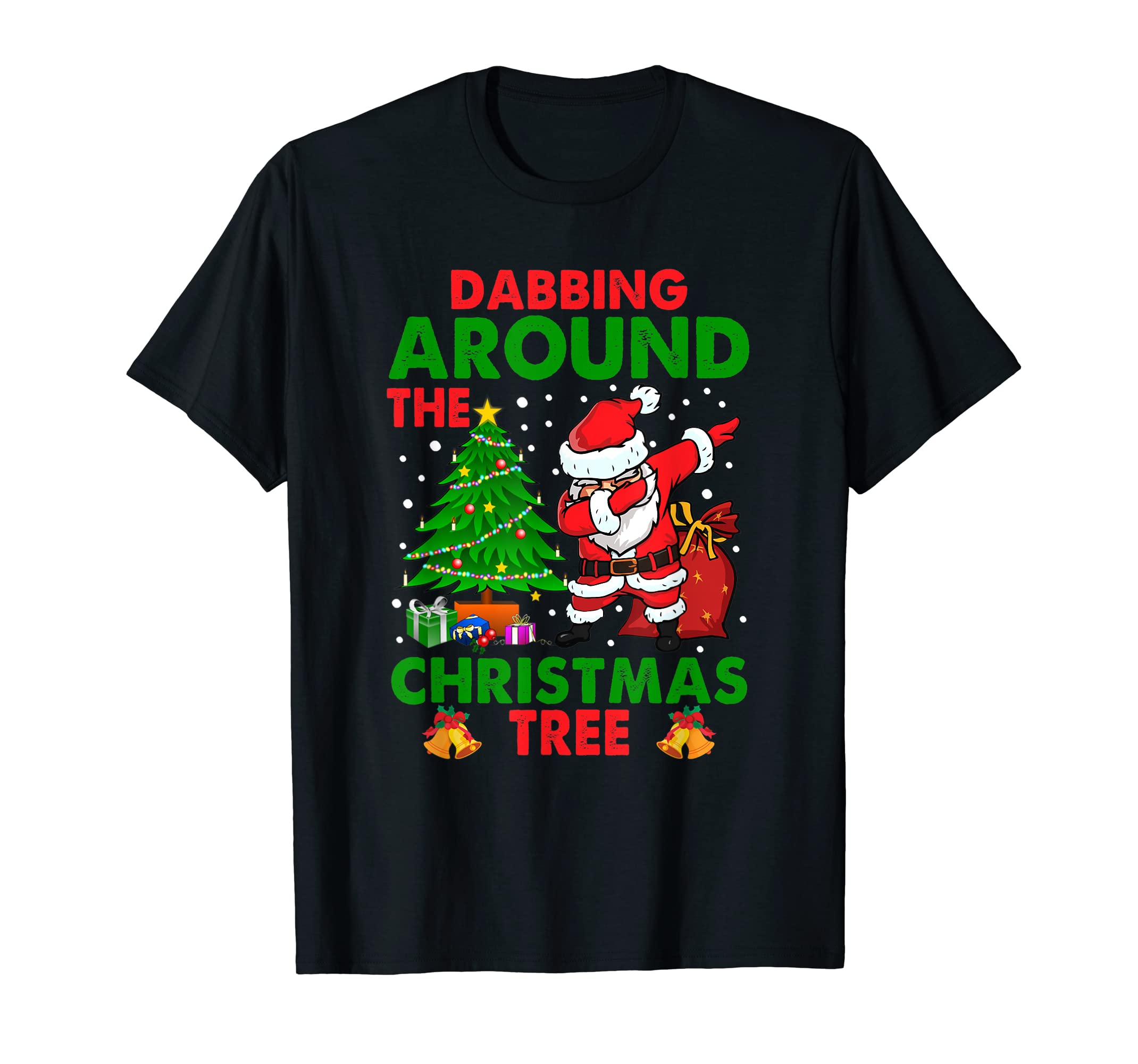 Santa Claus Dabbing around the Christmas Tree Funny Xmas T-Shirt-Men's T-Shirt-Black