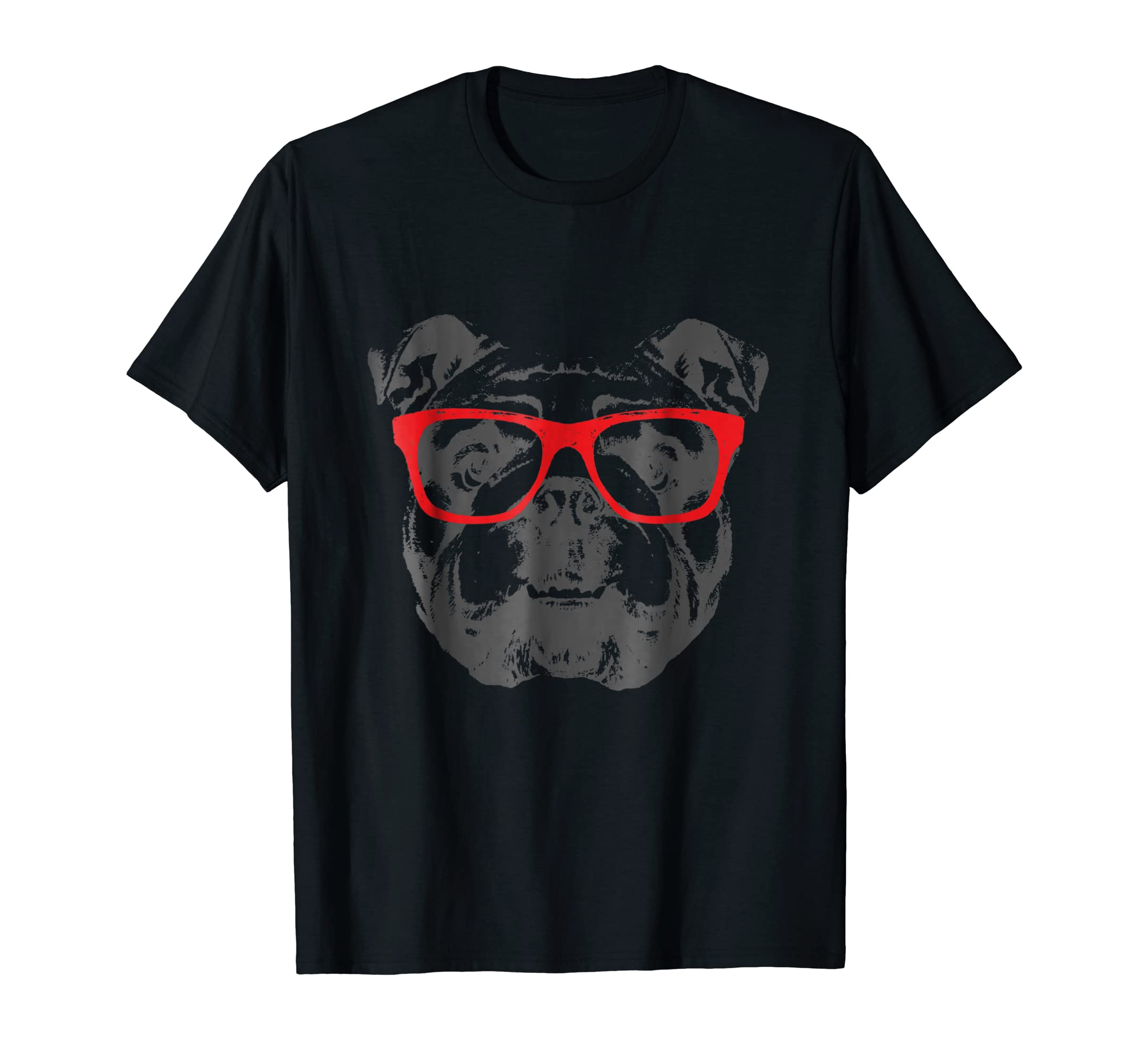 English Bulldog T-Shirt Design Red Glasses Nice Tee-Men's T-Shirt-Black