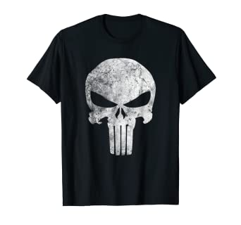 688f3aa2e3c64a Image Unavailable. Image not available for. Color: Marvel Punisher Skull  Symbol Distressed Graphic T-Shirt