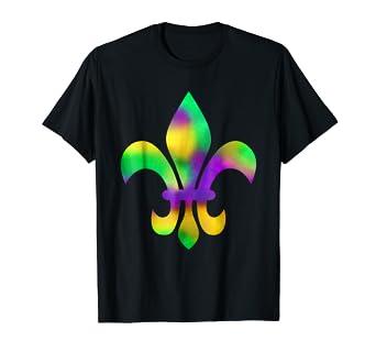 e8dcb0b9d5ce5 Amazon.com: Mardi Gras Tie Dye Fleur De Lis New Orleans T-Shirt ...