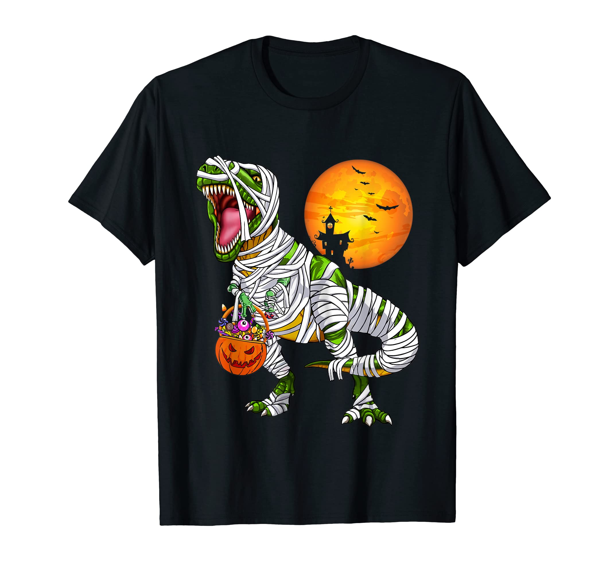 Halloween Gift For Boys Kids Dinosaur T rex Mummy Pumpkin T-Shirt-Men's T-Shirt-Black