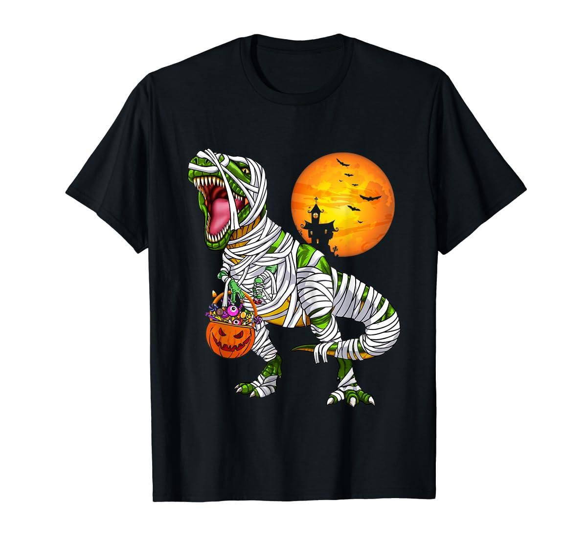 Halloween Gift For Boys Kids Dinosaur T rex Mummy Pumpkin T-Shirt-Men's T-Shirt-Black