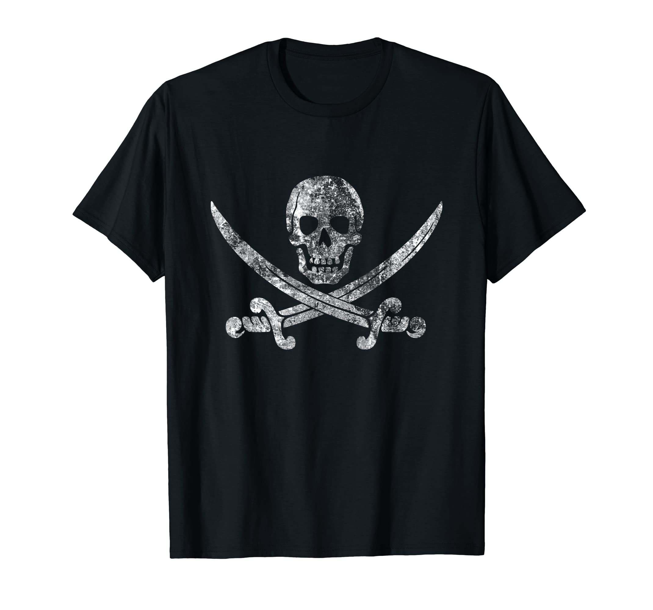 Vintage Pirate Skull shirt - Jolly Roger Flag Tshirt-Men's T-Shirt-Black