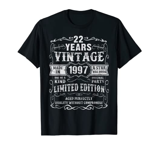 Amazon Made In 1997 22 Years Old Vintage 22nd Birthday Gift T