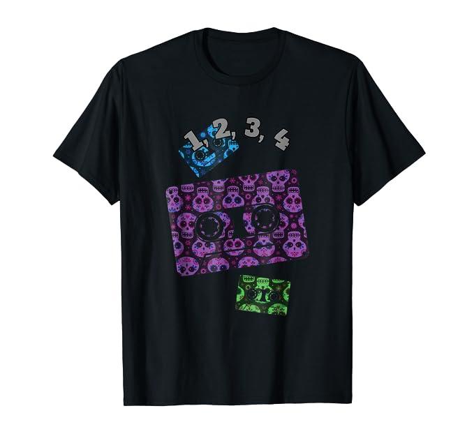 1234 funny skulls retro cassette Tee Shirt for music lovers