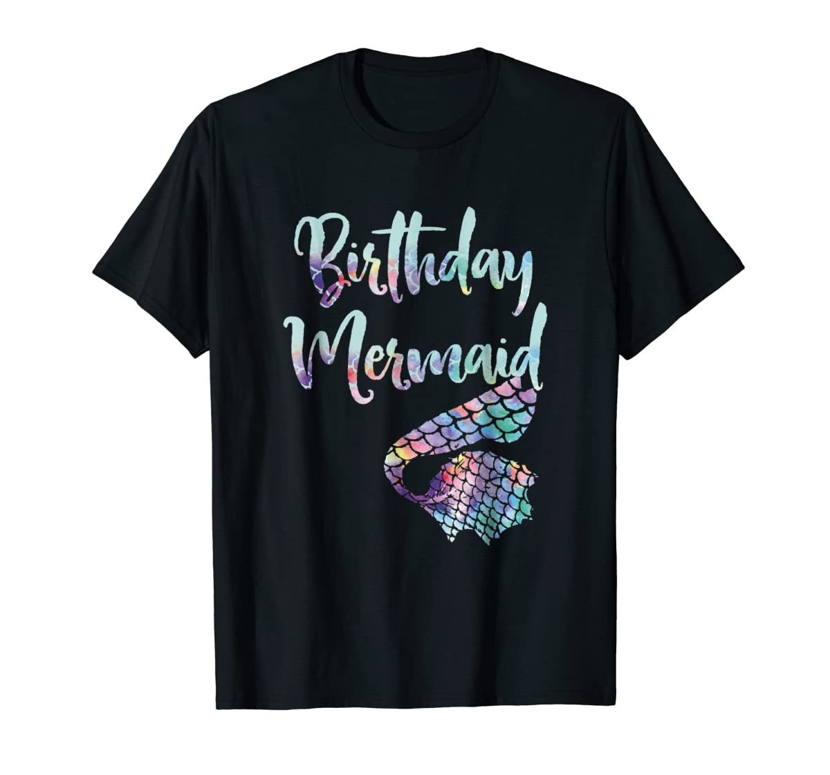 Birthday Mermaid Shirt-Men's T-Shirt-Black