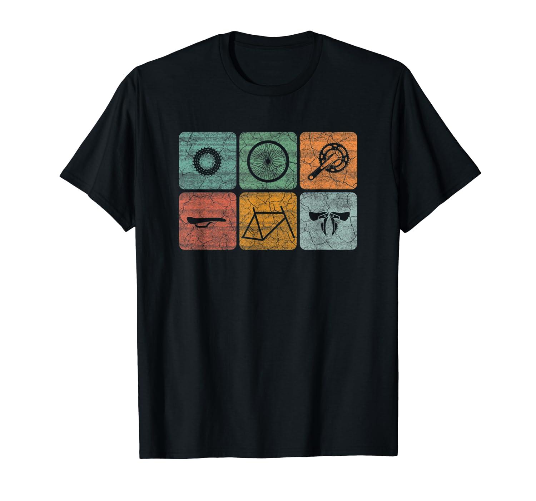 f04a200e Amazon.com: Cycling Tshirt Classic Vintage Style Bicycle Parts Shirt:  Clothing