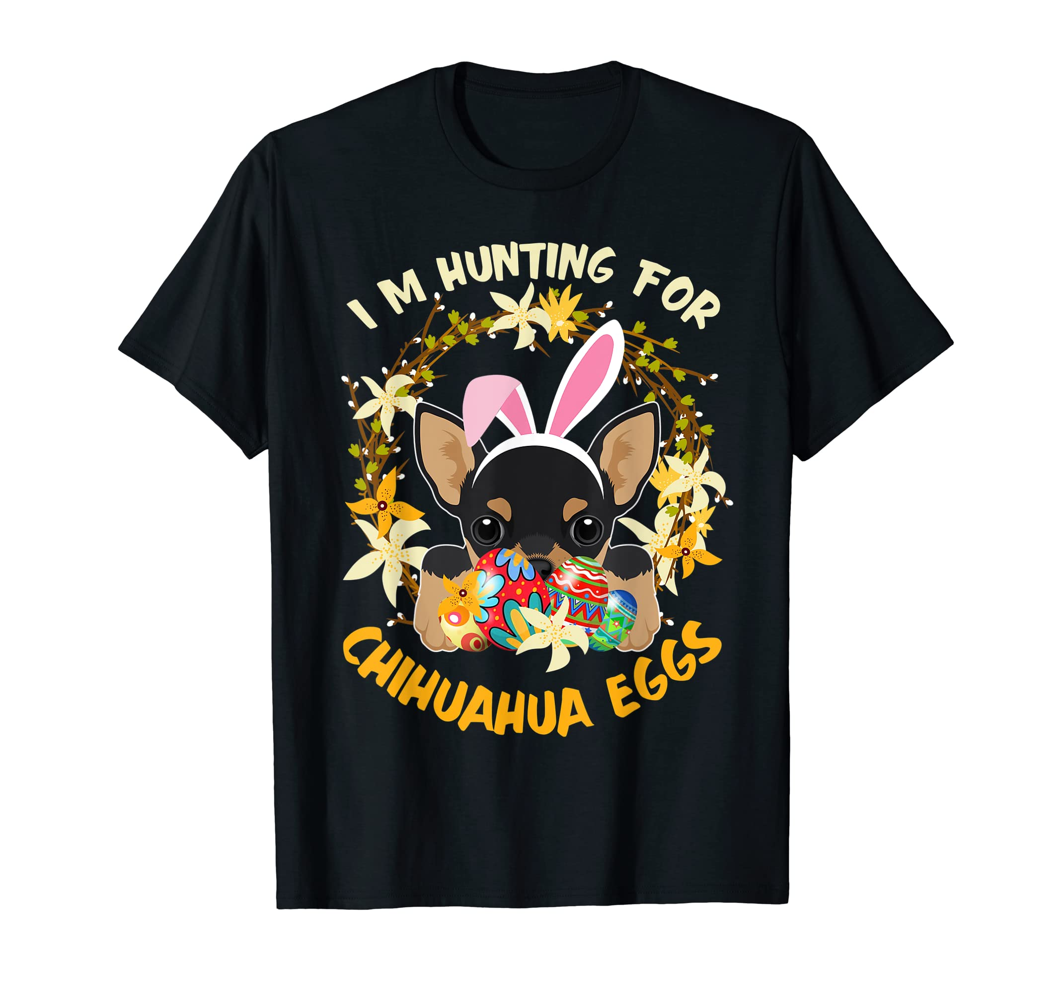 Hunting for Chihuahua Eggs Happy Easter Kids Boys Girls Tees-Men's T-Shirt-Black