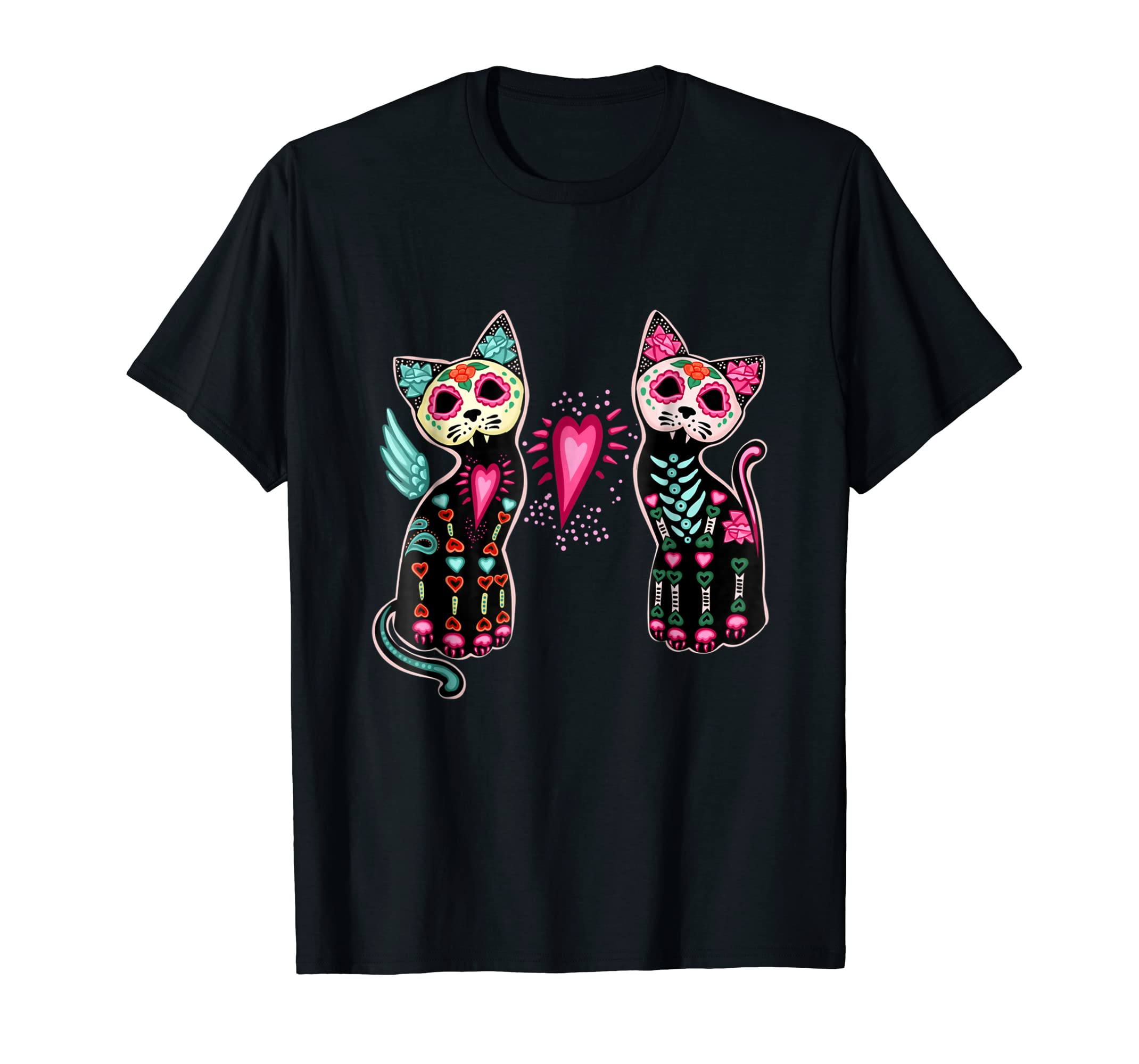 Day of Dead Sugar Cat T-Shirt Cats Skeleton Skull Tee Shirts-Men's T-Shirt-Black