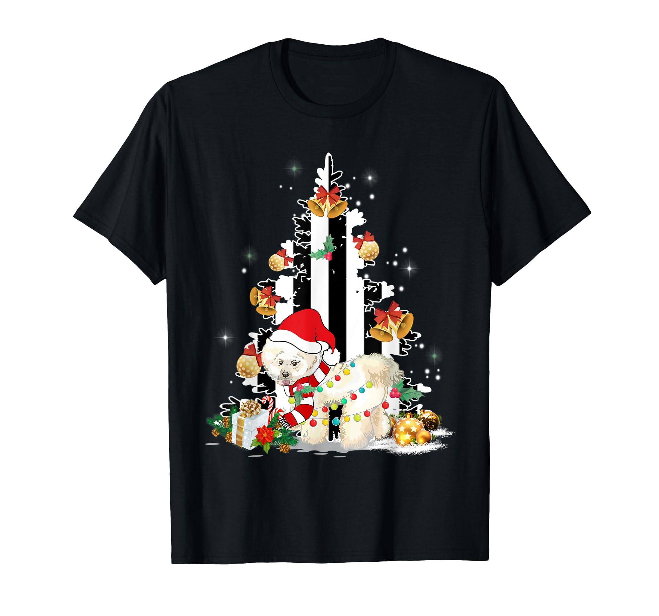 Bichon Frise Santa Hat Christmas USA Flag Dog Gift T-Shirt-Men's T-Shirt-Black