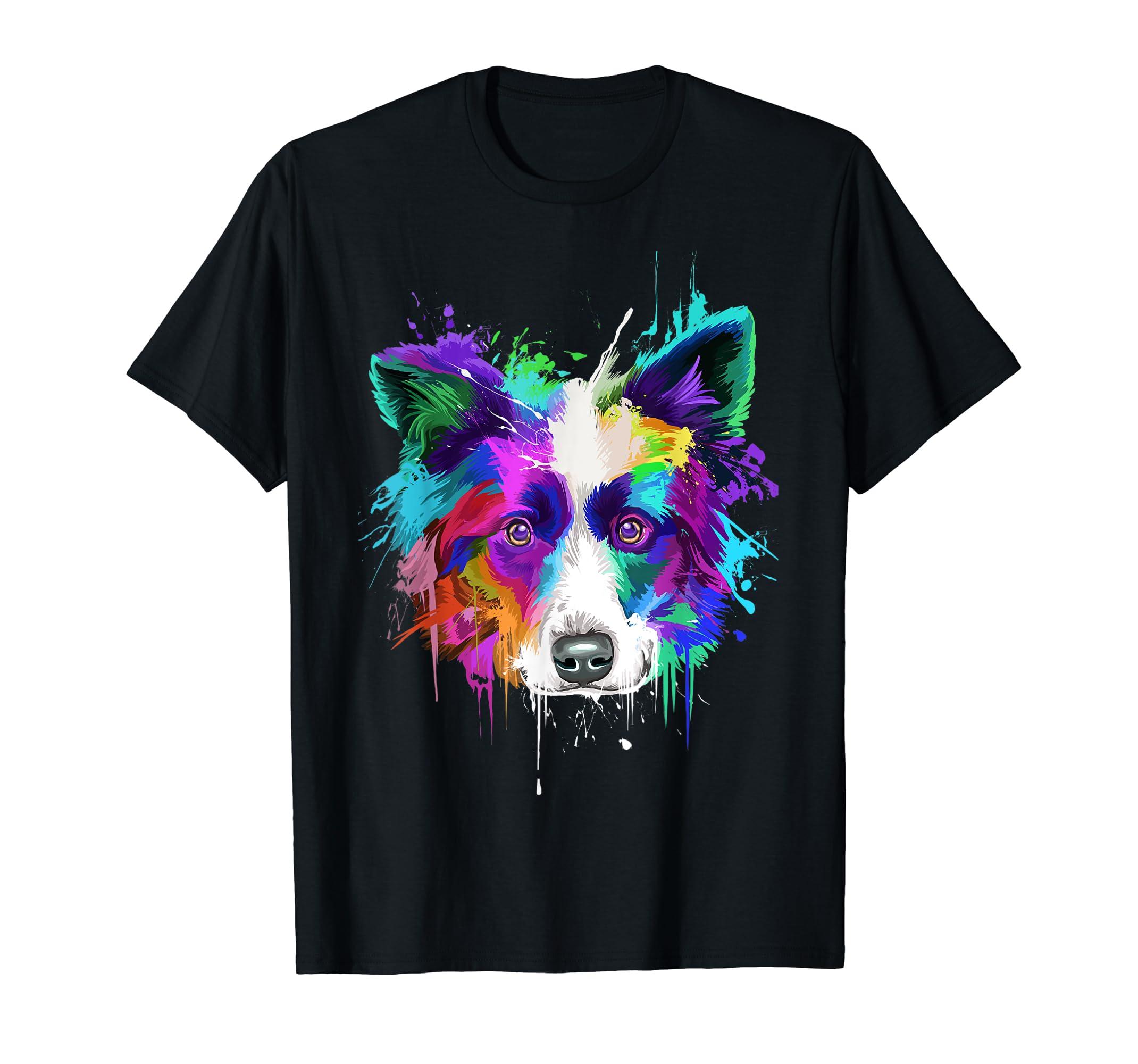 Splash Art Border Collie T-Shirt | Border Collie Owners Gift-Men's T-Shirt-Black