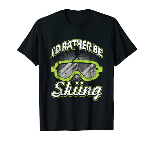 ff1d84d85 Image Unavailable. Image not available for. Color: I'd Rather Be Skiing T-Shirt  Funny Ski Tee Skier Slopes Gift