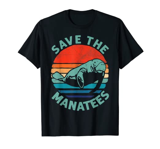 f2cb8fde6392 Image Unavailable. Image not available for. Color: Save The Manatees Chubby Shirt  Retro Vintage Gift Shirt