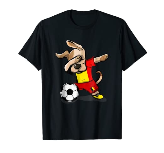 ff6ce10e19f Image Unavailable. Image not available for. Color: Dog Dabbing Soccer  Belgium Jersey Shirt Belgian ...