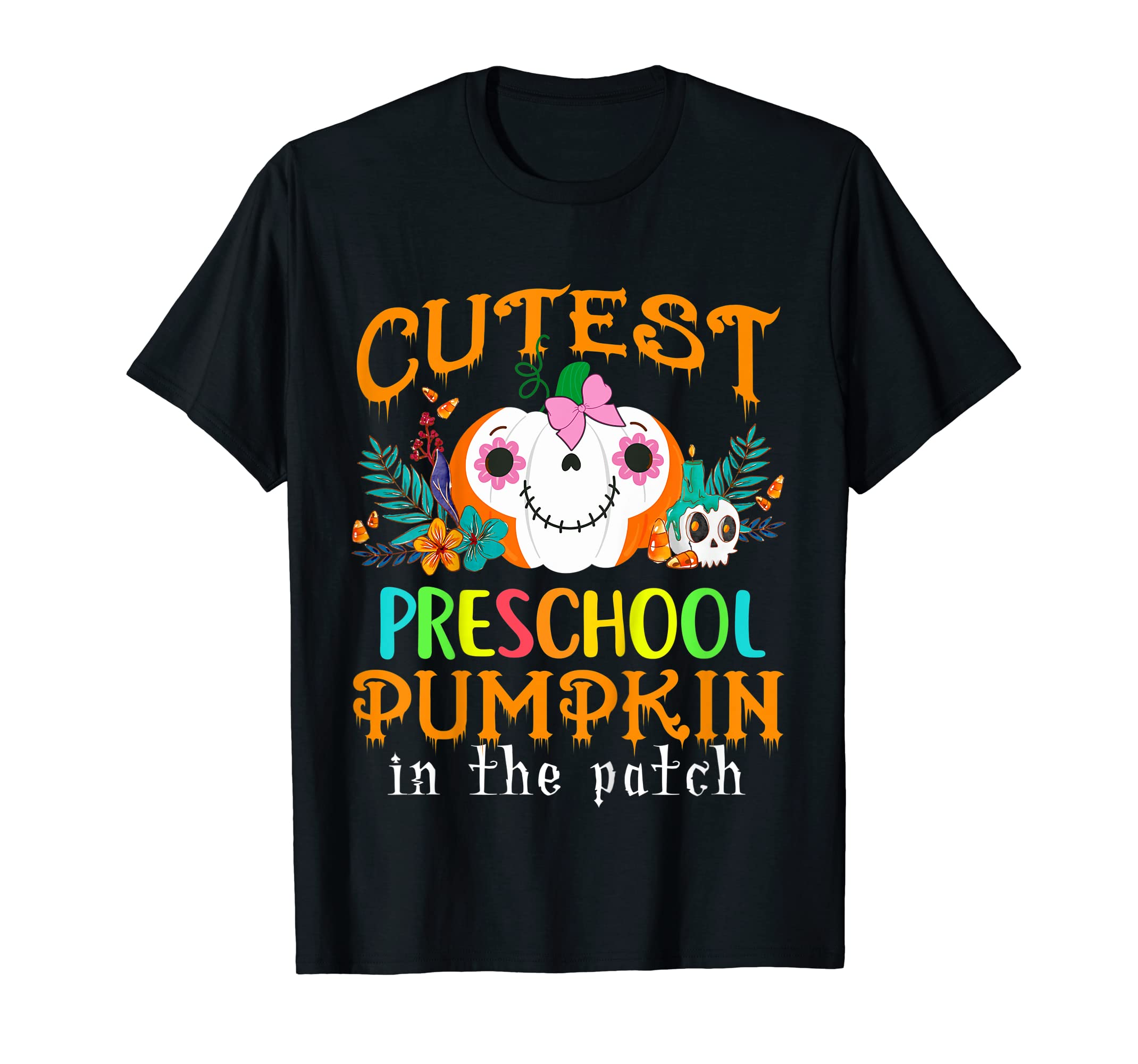 Kids Cutest Preschool Pumpkin In The Patch Halloween Costume Girl T-Shirt-Men's T-Shirt-Black