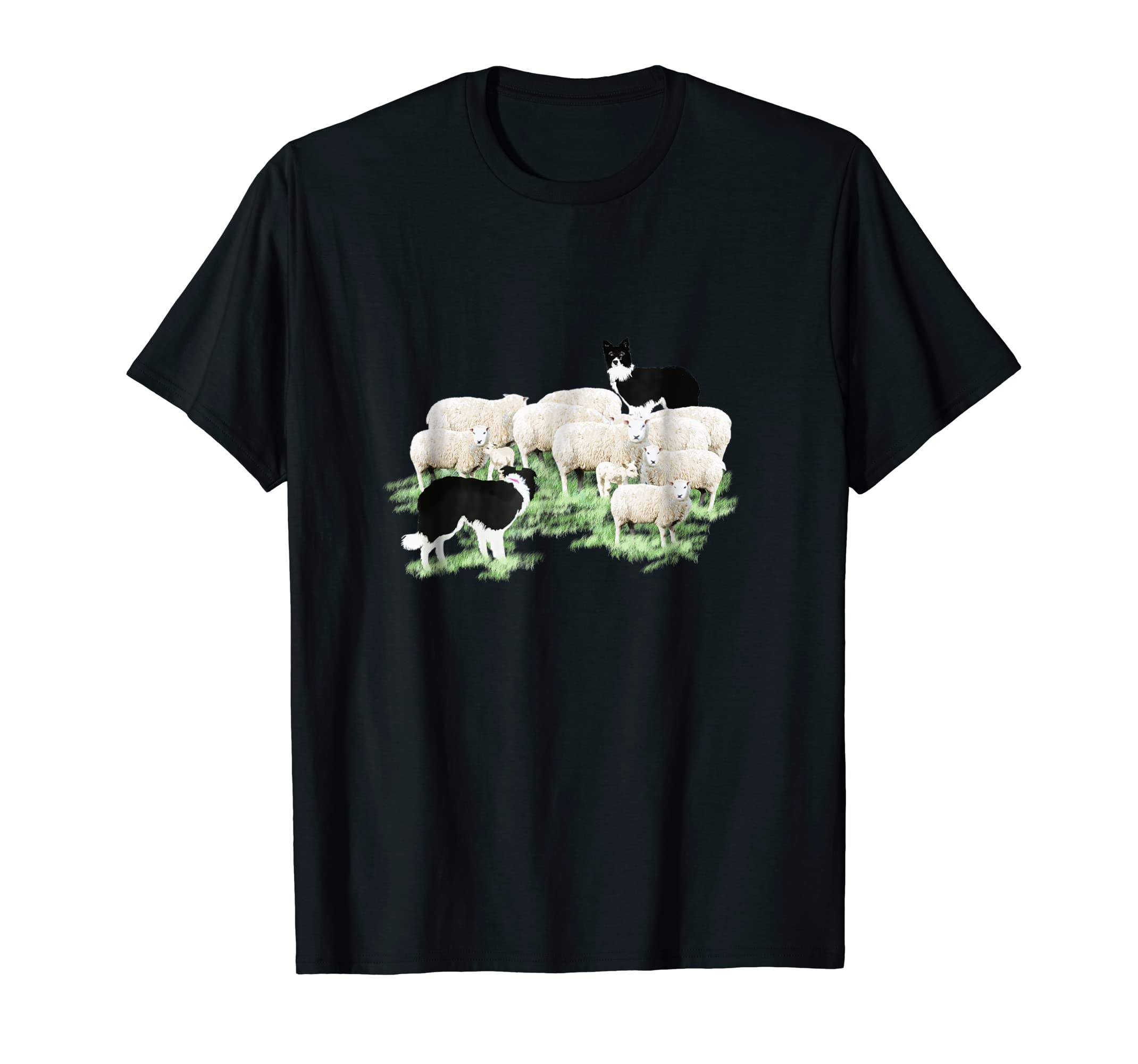 Border Collie Dogs Herding Sheep T-Shirt-Men's T-Shirt-Black