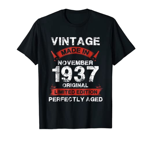 Vintage For November 1937 81st Years Old 81 Birthday Shirt