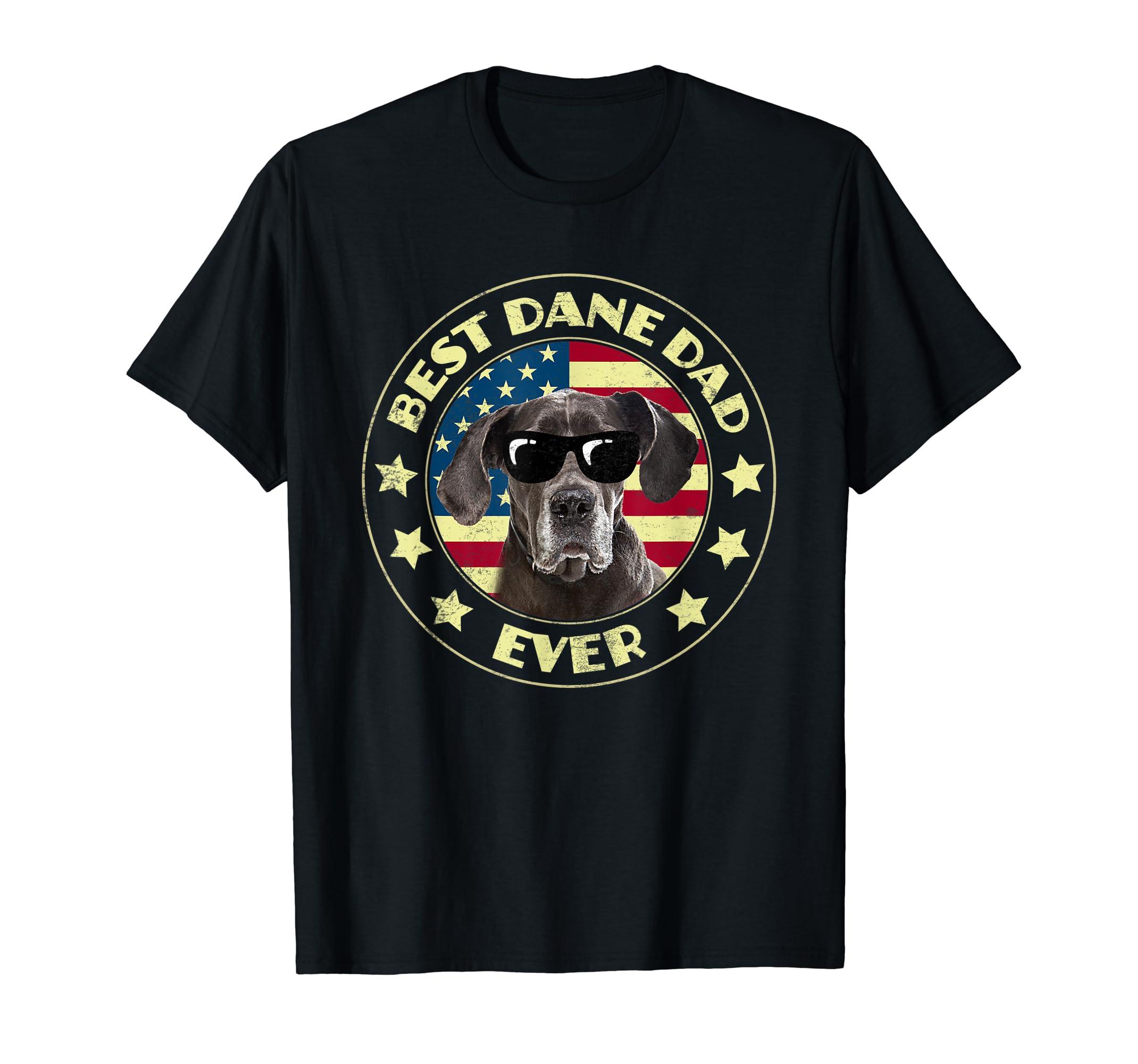 Best Dane Dad American Flag T-Shirts For Cool Dad-Men's T-Shirt-Black