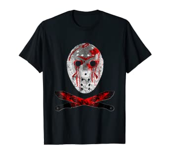 f50d8821835 Image Unavailable. Image not available for. Color  Friday 13TH Shirt Jason  Mask Bloody Machete Halloween TShirt