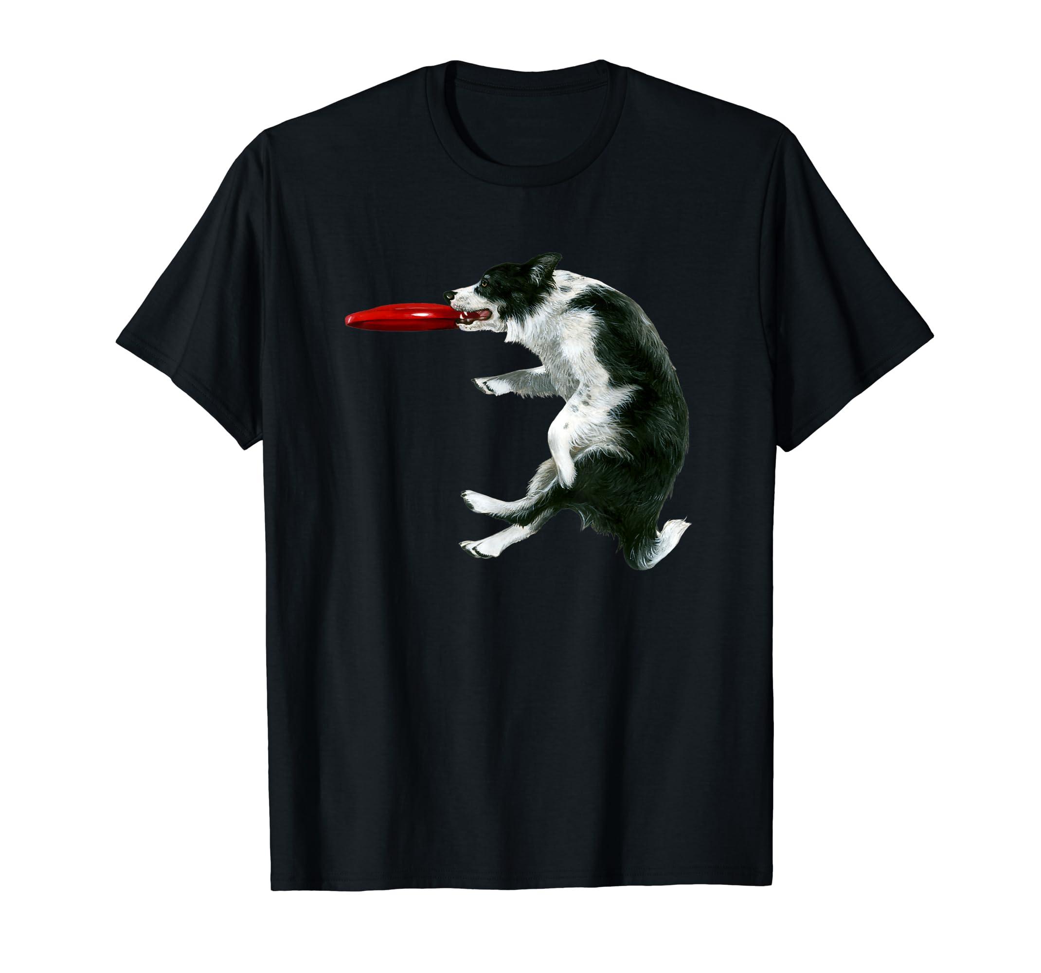 Border Collie Frisbee Shirt Sheepdog Shirt Gift-Men's T-Shirt-Black