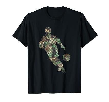Digital Camouflage Soccer guy running kicking ball Tee Shirt