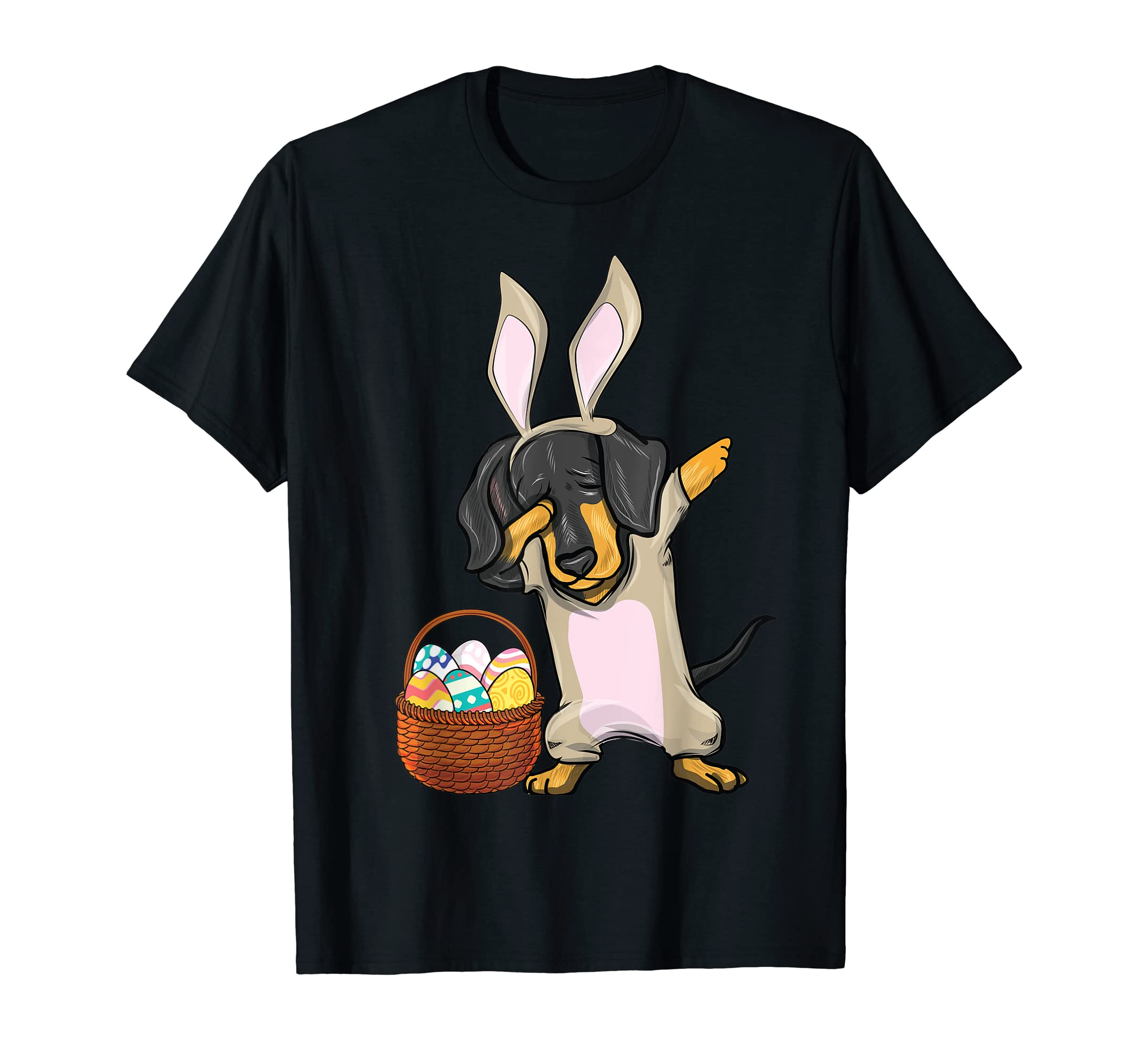 Dabbing Easter Bunny Dachshund Doxie Girls & T Shirt Design-Men's T-Shirt-Black