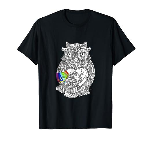 Amazon.com: Owl coloring t shirt - adult coloring books t shirt ...