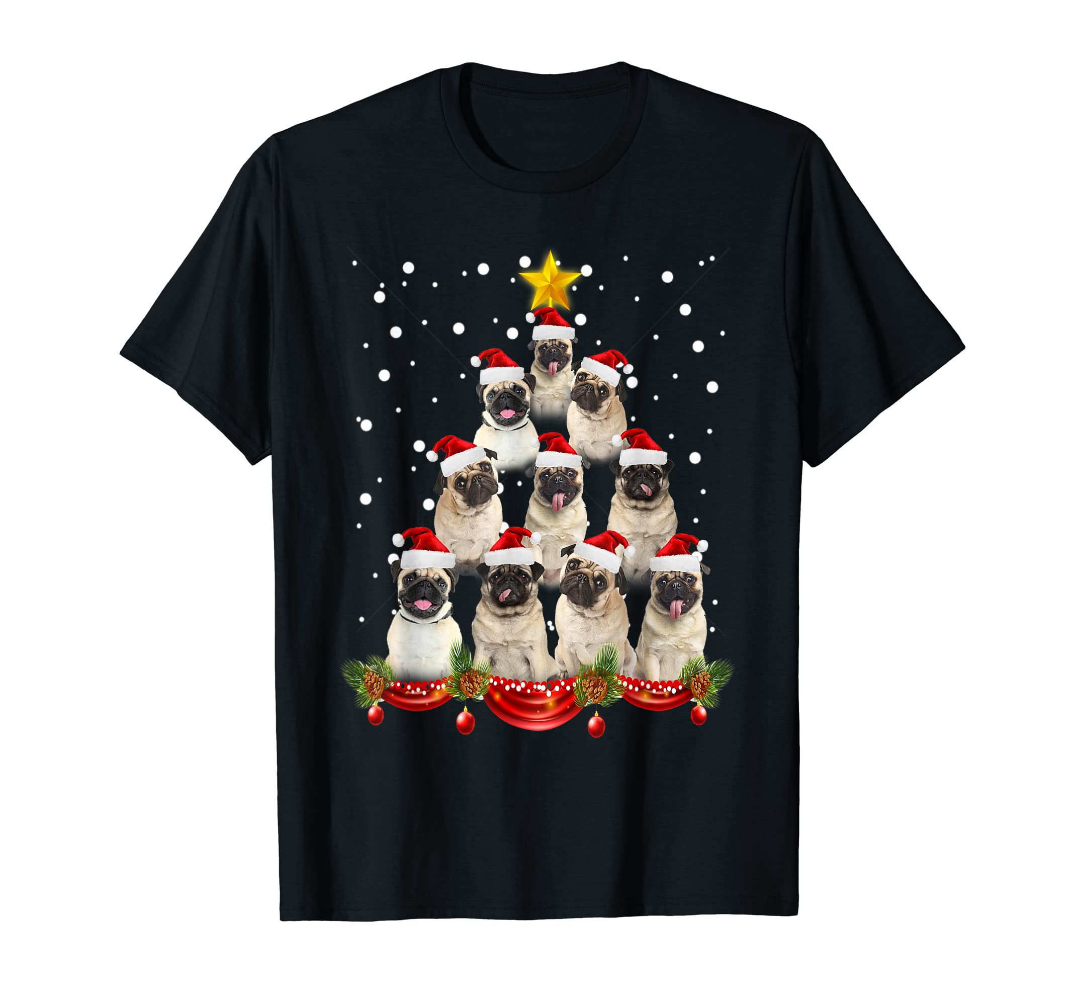 Pug Christmas Tree Costume Lovers Dog Gifts T-Shirt-Men's T-Shirt-Black