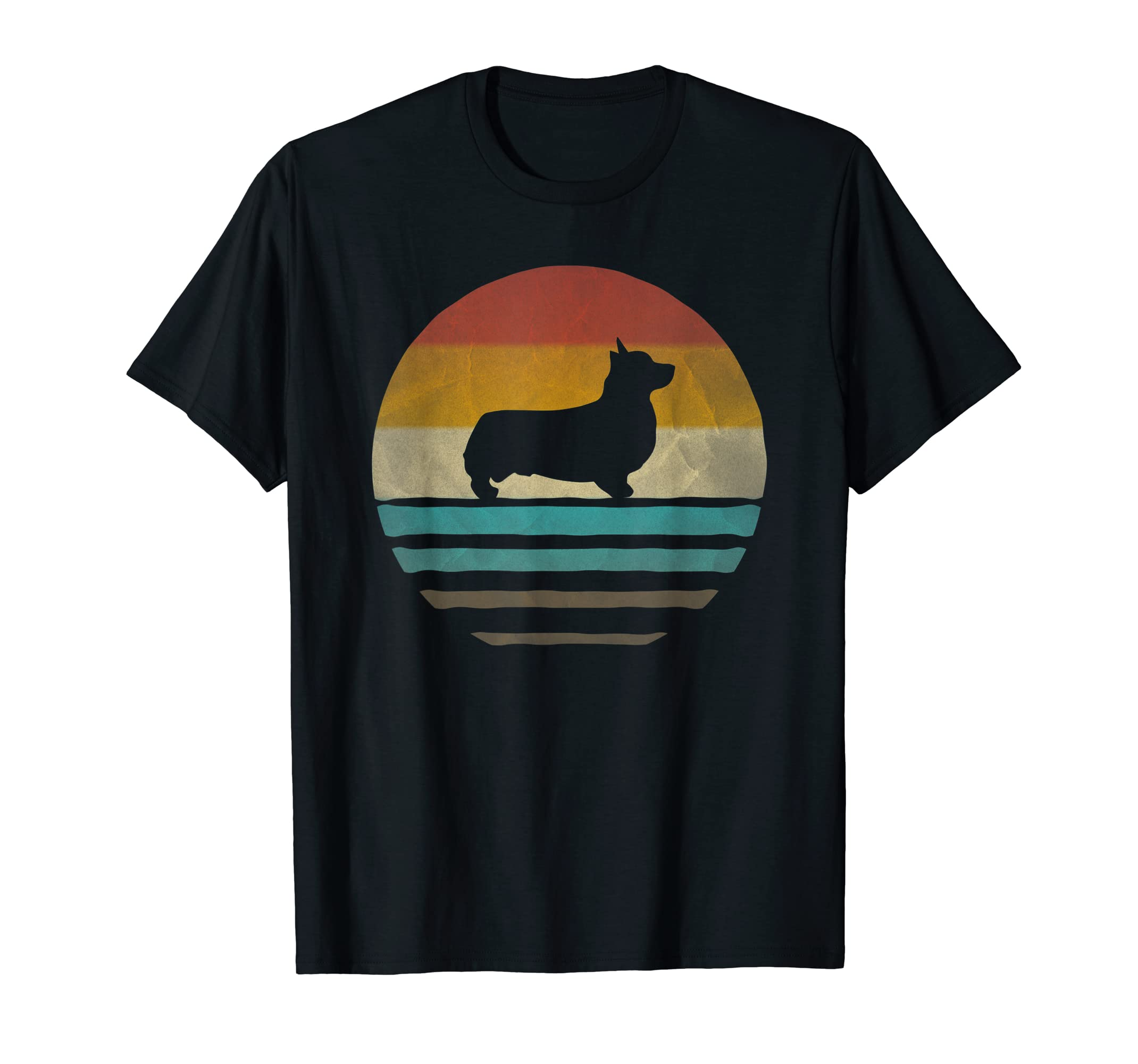 Corgi Dog Shirt Retro Vintage 70s Silhouette Breed Gift-Men's T-Shirt-Black