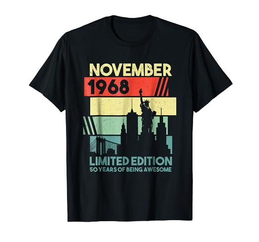 Amazon November 1968 Shirt Retro Vintage 50th Birthday