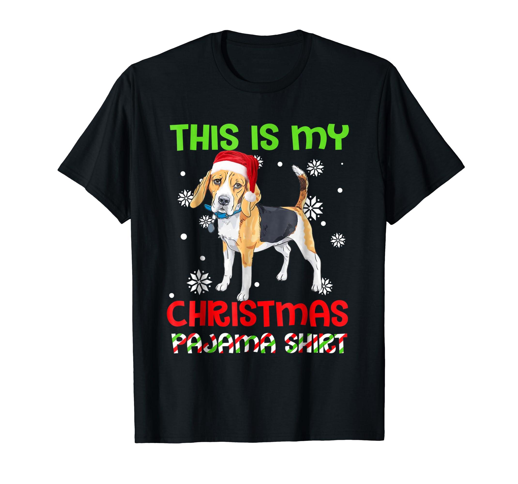 This Is My Christmas Pajama Shirt   Beagle Santa-Men's T-Shirt-Black
