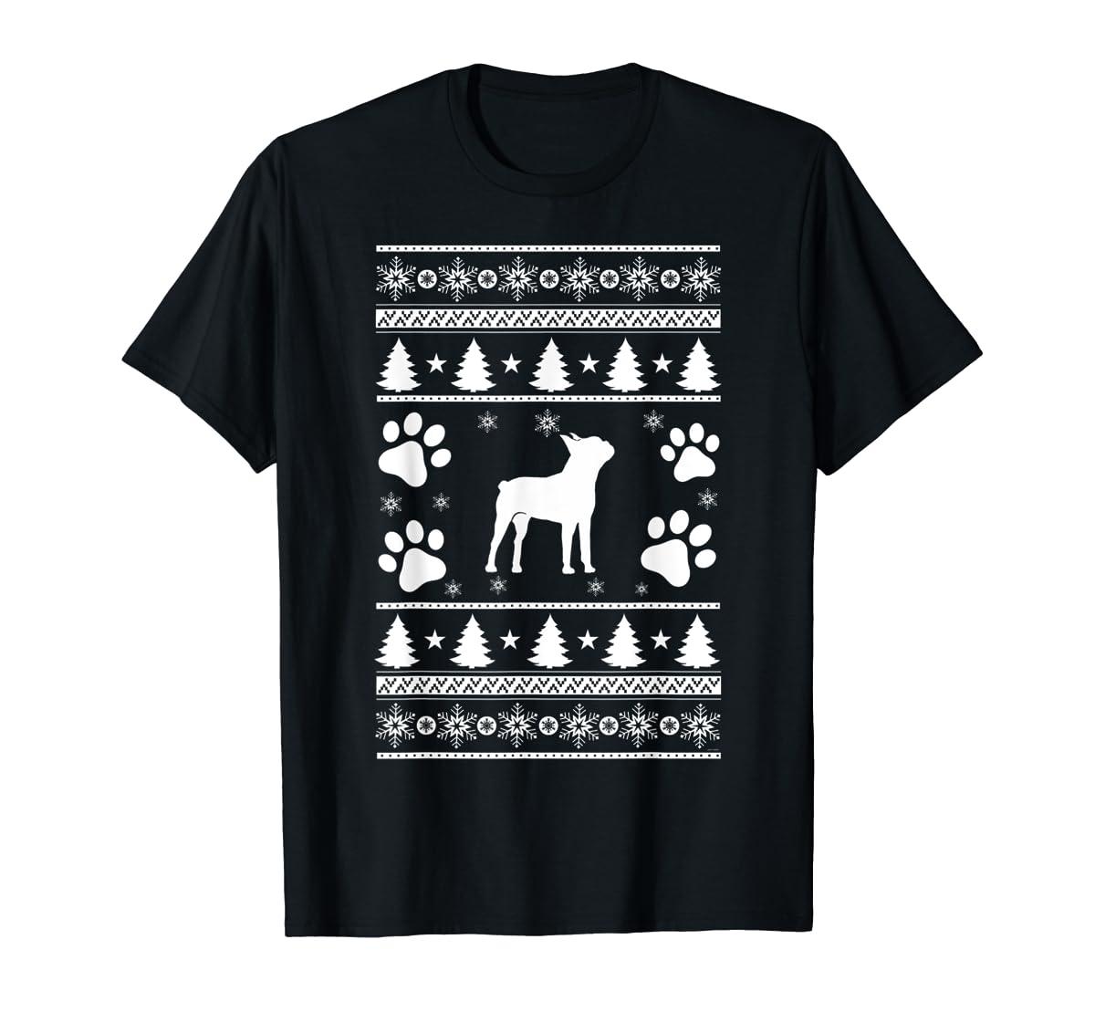Boston Terrier lovers ugly christmas gift T-Shirt-Men's T-Shirt-Black