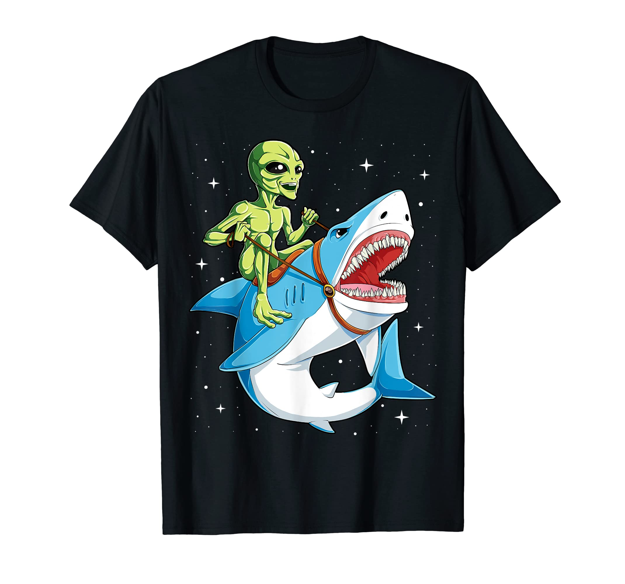 Alien Riding Shark T shirt UFO Women Men Kids Boys Girls Tee-Men's T-Shirt-Black