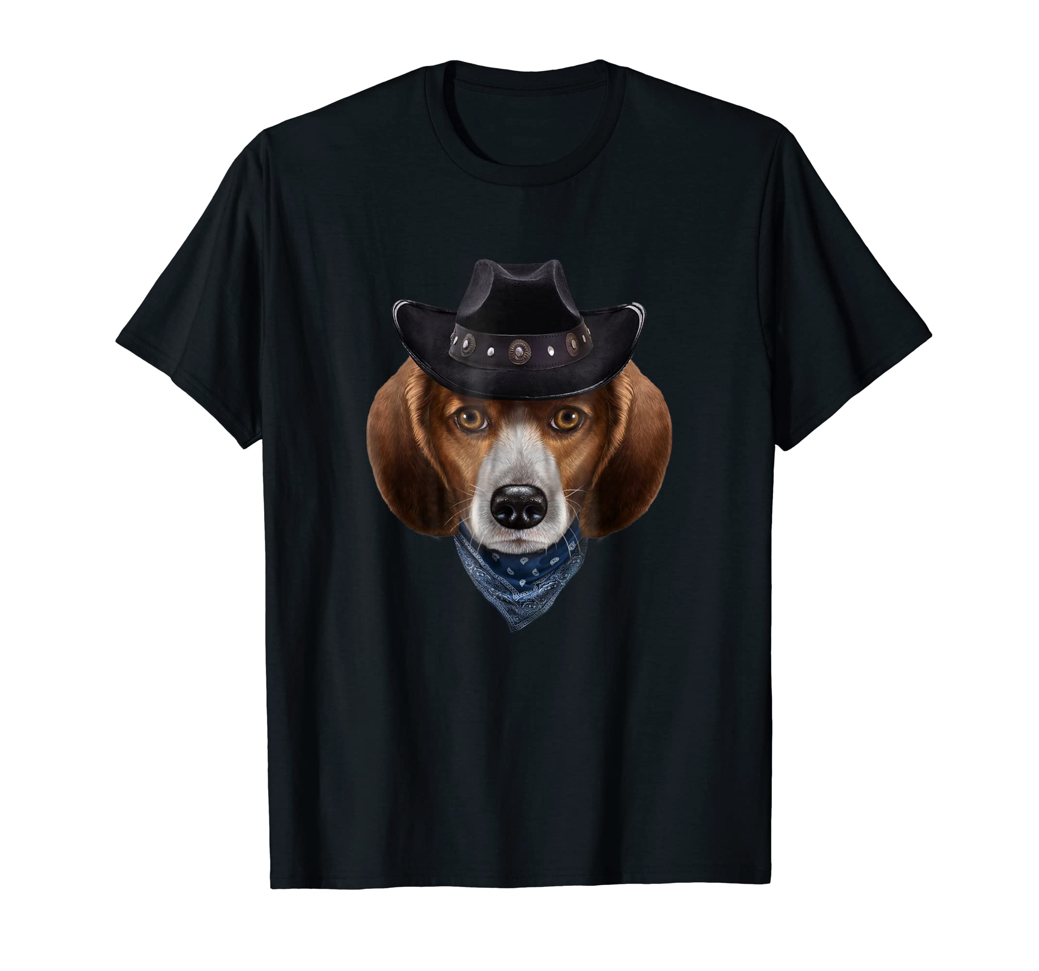 Beagle Dog in Cowboy Hat and Bandana, T-Shirt-Men's T-Shirt-Black
