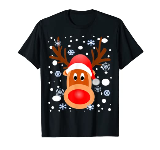 876396a320400 Image Unavailable. Image not available for. Color: Christmas Reindeer Shirt- Snow-Snowflakes T Shirt
