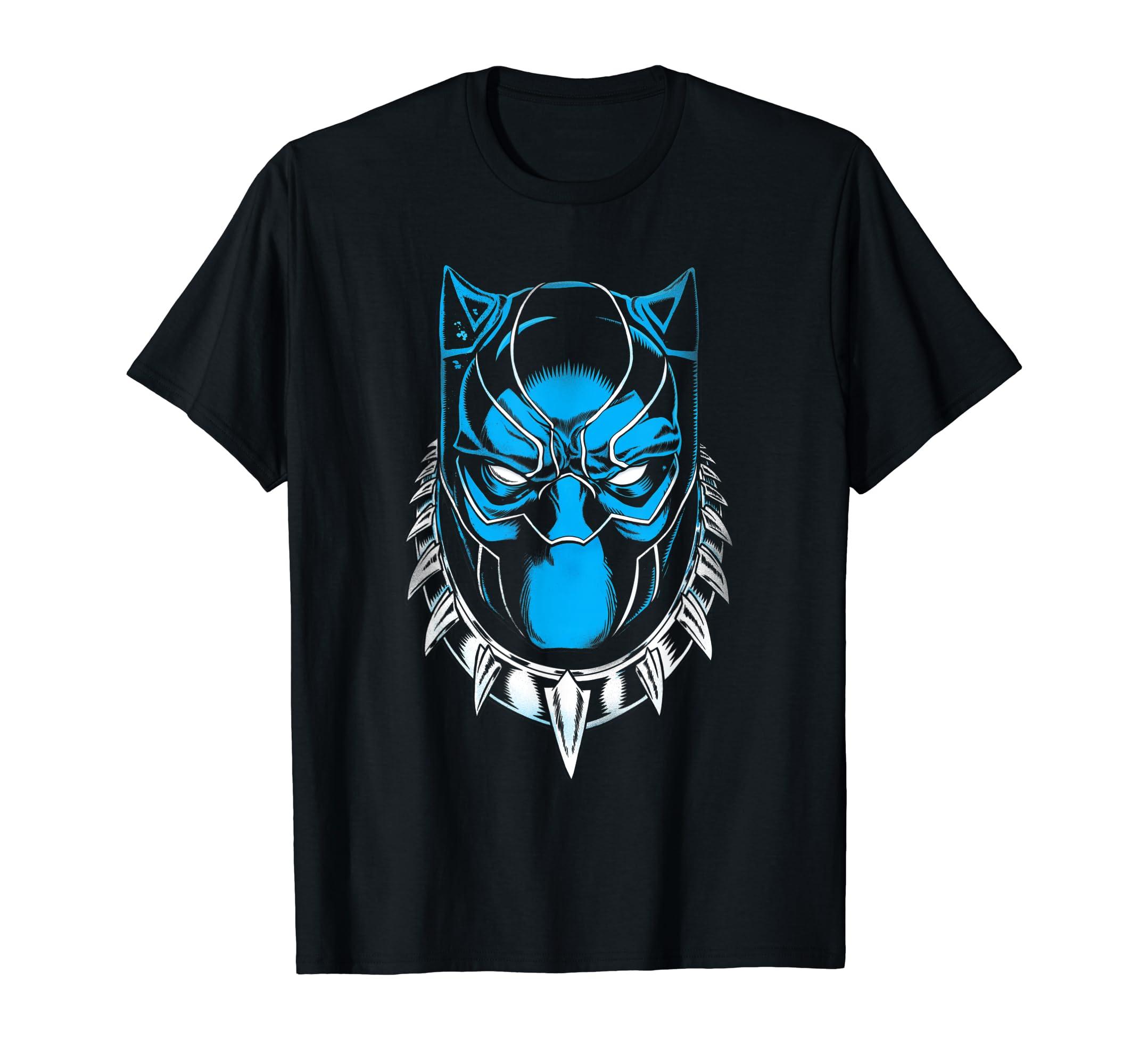 87ca1c12fd4f Amazon.com: Marvel Black Panther King T'Challa Mask T-Shirt: Clothing
