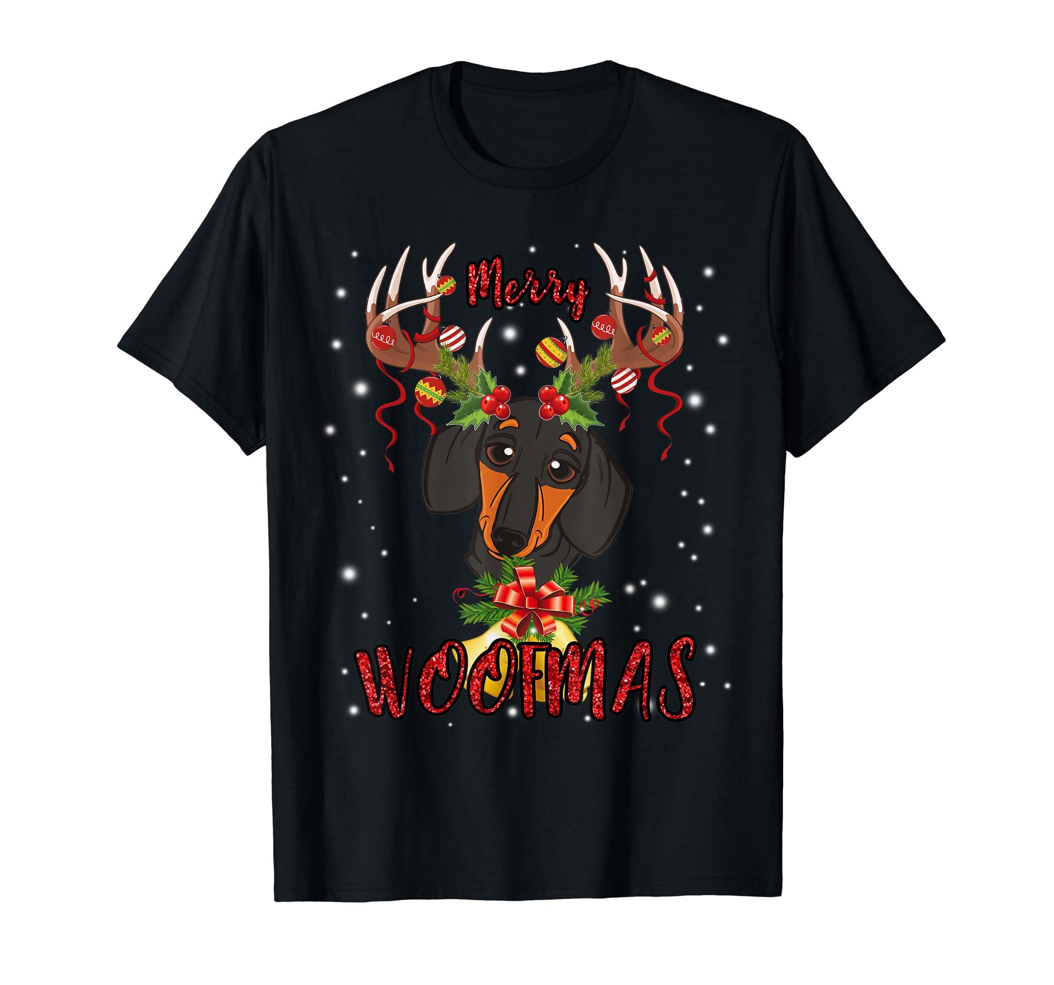 Dachshund Merry Christmas Dog Gift Cute Doxie T-Shirt-Men's T-Shirt-Black