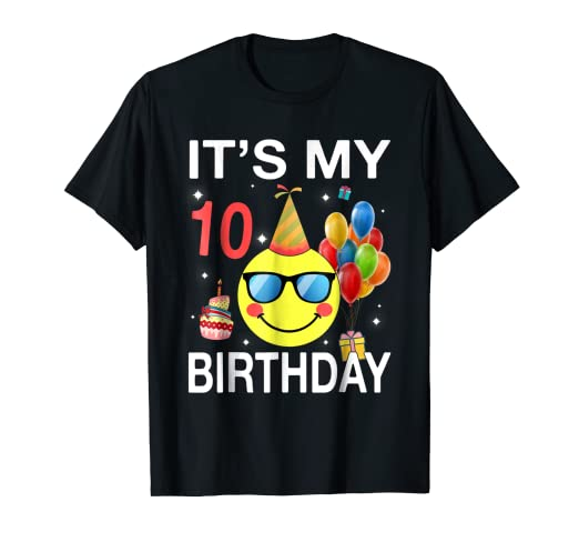 Image Unavailable Not Available For Color Kids Emoji Its My 10th Birthday Shirt Fun 10 Years Old Gift
