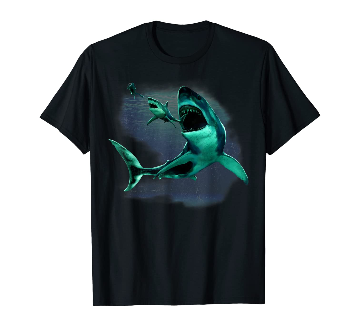 Dinosaur Shark, Great White & Scuba Diver in Ocean t shirt