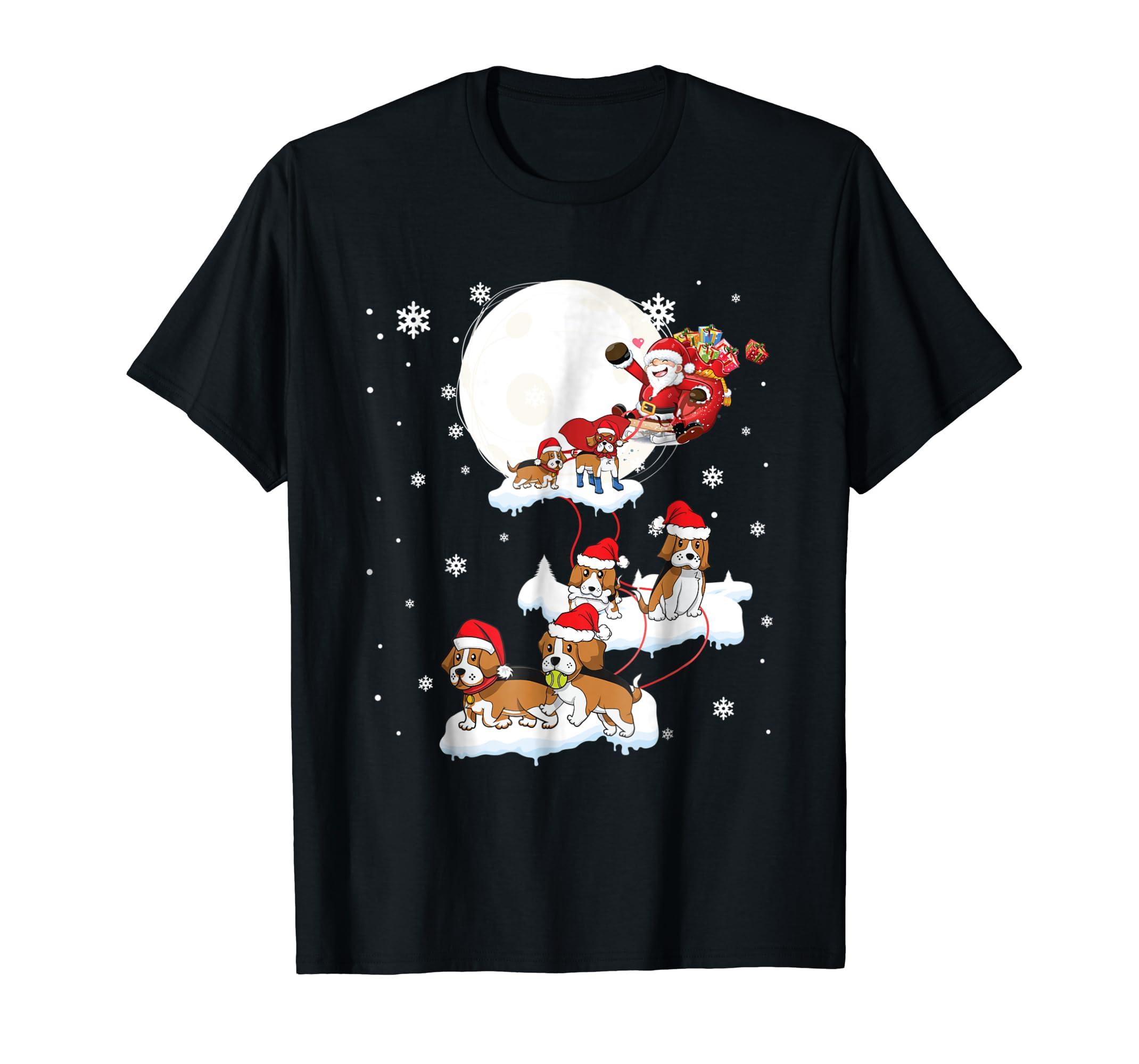 Santa Claus Riding Beagle Dogs Christmas Tshirt Xmas Gifts-Men's T-Shirt-Black