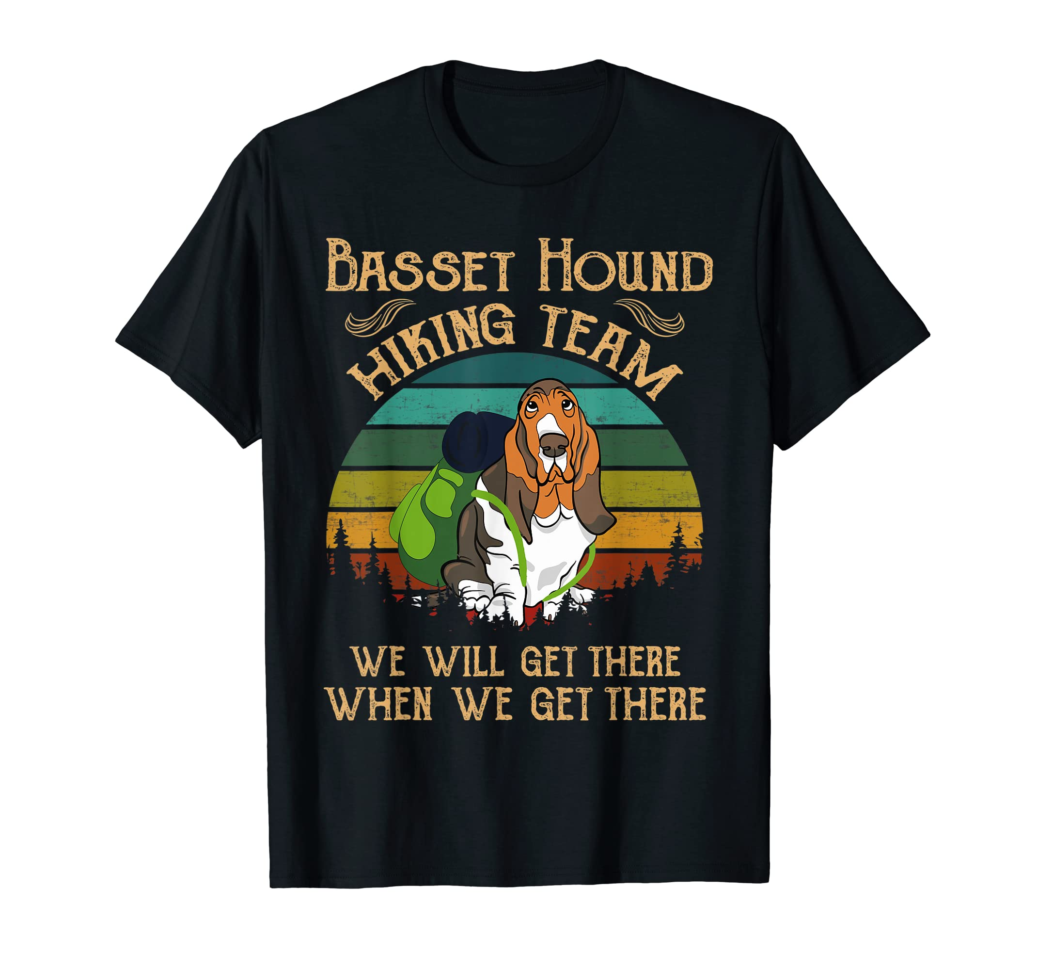 Basset Hound Hiking Team We Will Get There Vintage T-shirt-Men's T-Shirt-Black